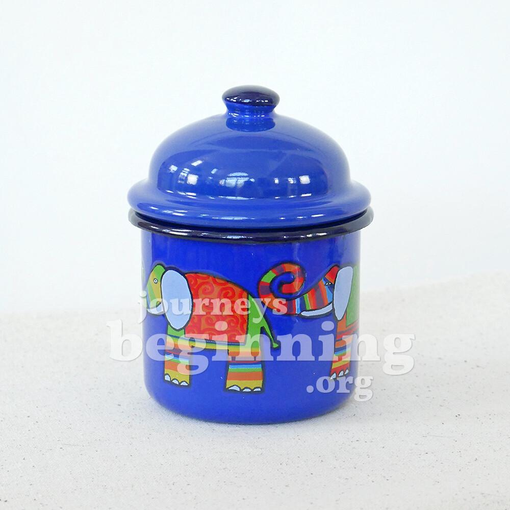 Rainbow Elephant Lidded Sugar Jar