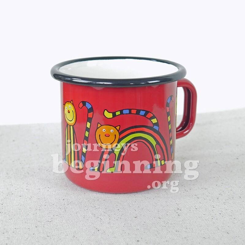 Striped Cat Enamel Mug - Crimson Red