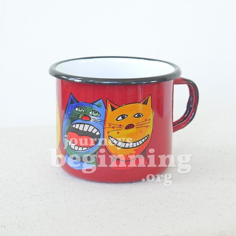 Eerie Cat Enamel Mug - Large