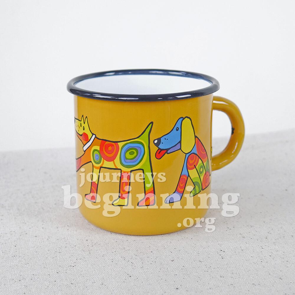 Spotted Dog Enamel Mug - Golden Poppy