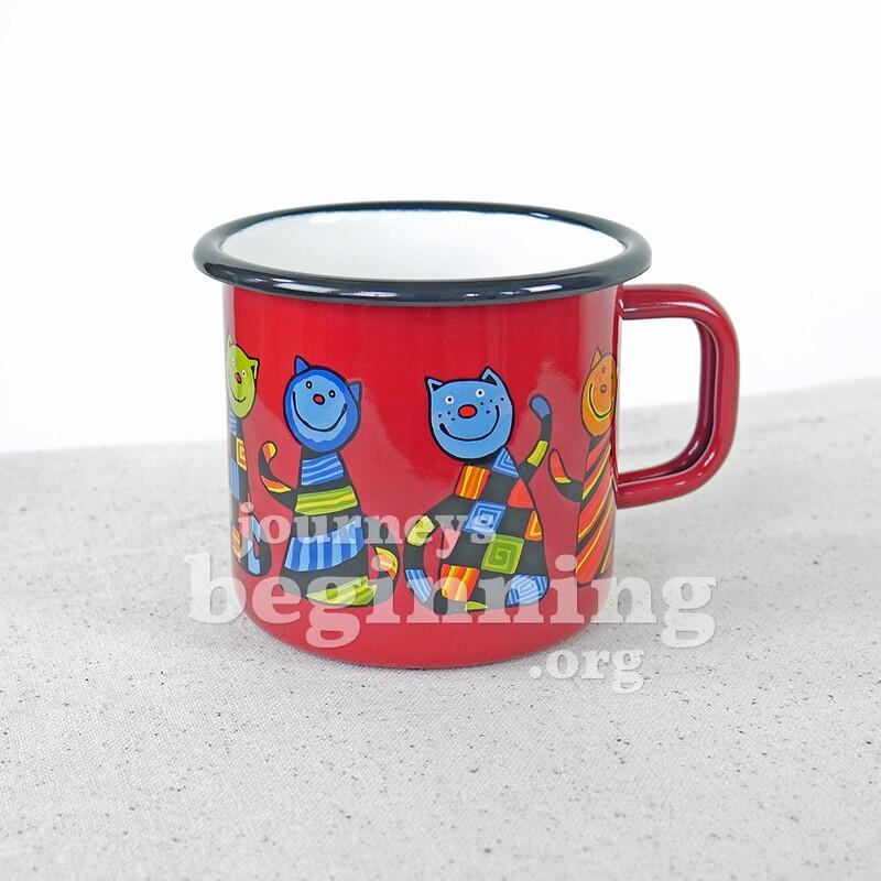 Funny Cat Enamel Mug - Cherry Red