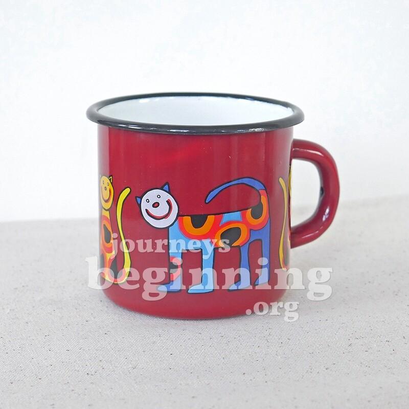 Spotted Cat Enamel Mug - Maroon Red