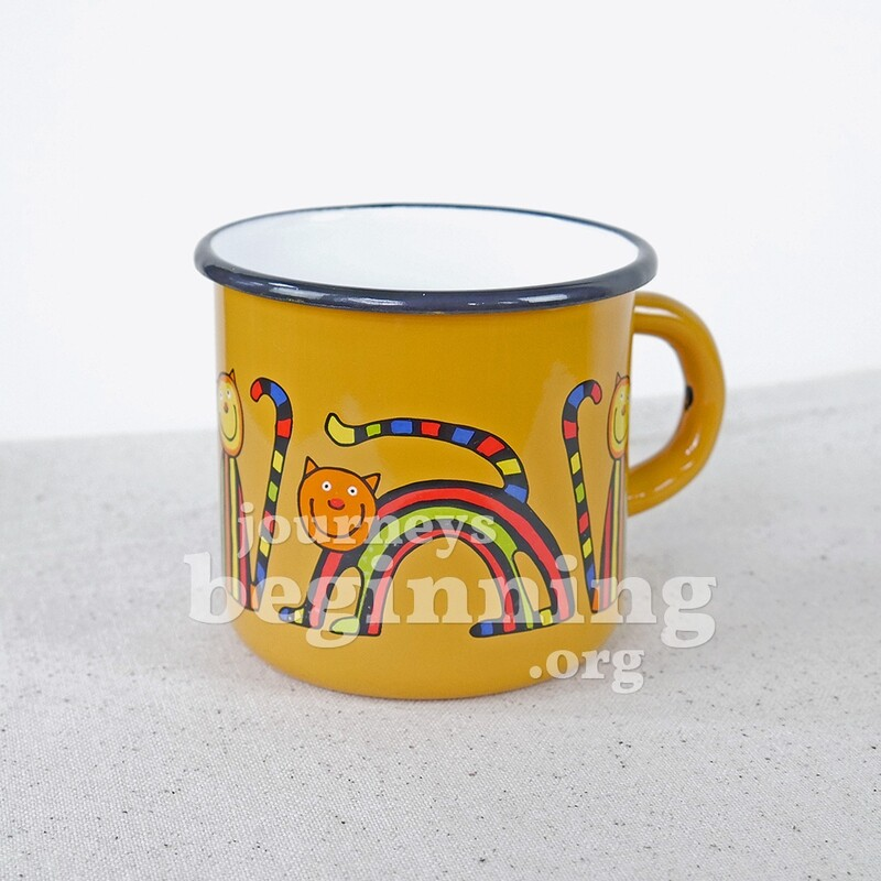Striped Cat Enamel Mug - Canary Yellow
