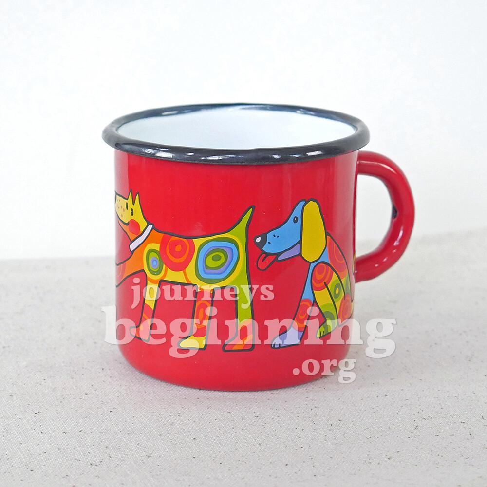 Spotted Dog Enamel Mug - Red