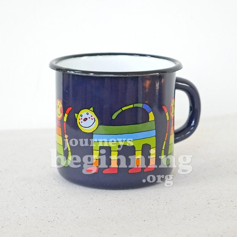 Rainbow Cat Enamel Mug - Midnight Blue