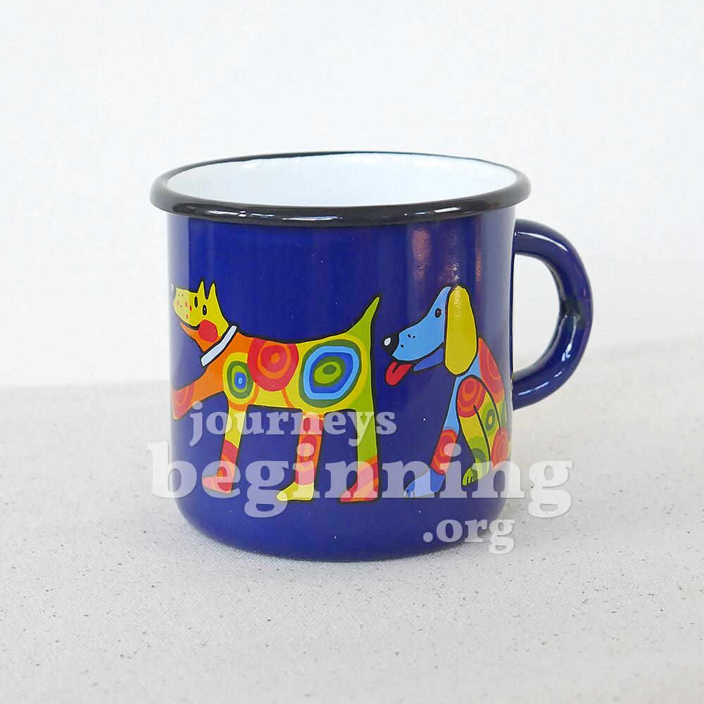 Spotted Dog Enamel Mug - Navy Blue