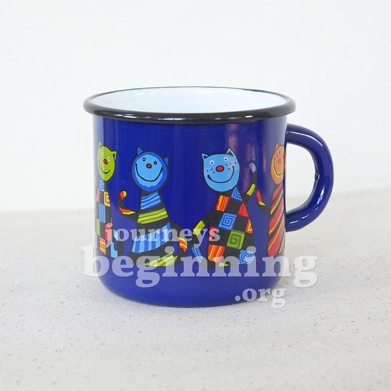 Funny Cat Enamel Mug - Cobalt Blue