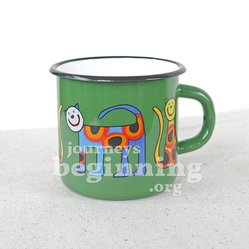 Spotted Cat Enamel Mug - Green