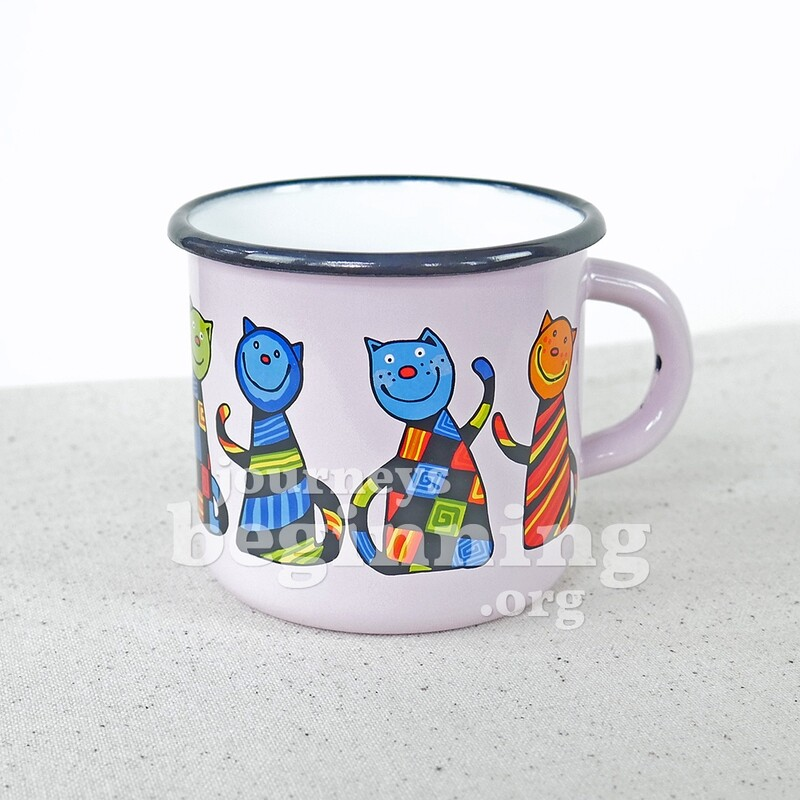 Funny Cat Enamel Mug - Lavender