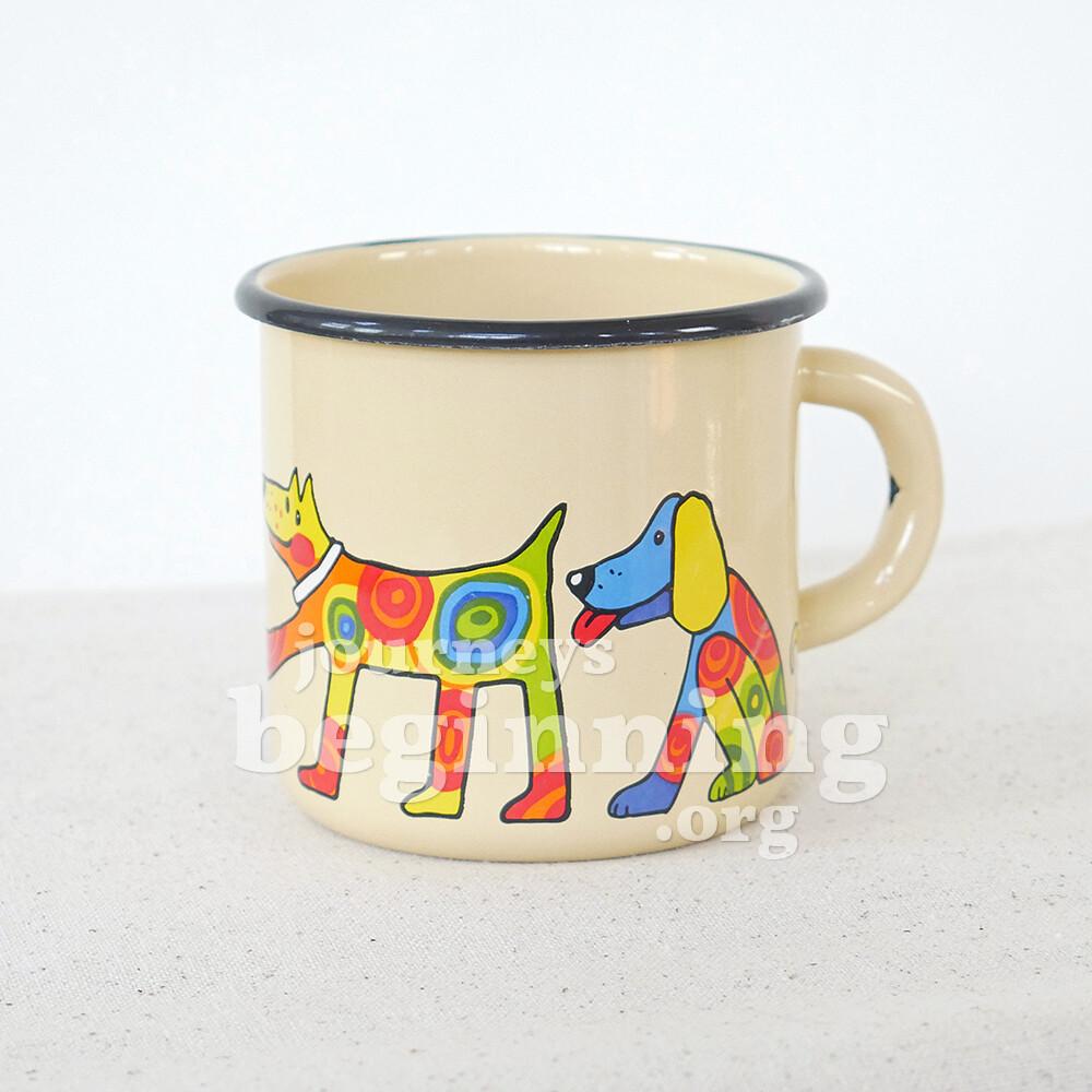 Spotted Dog Enamel Mug - Cream