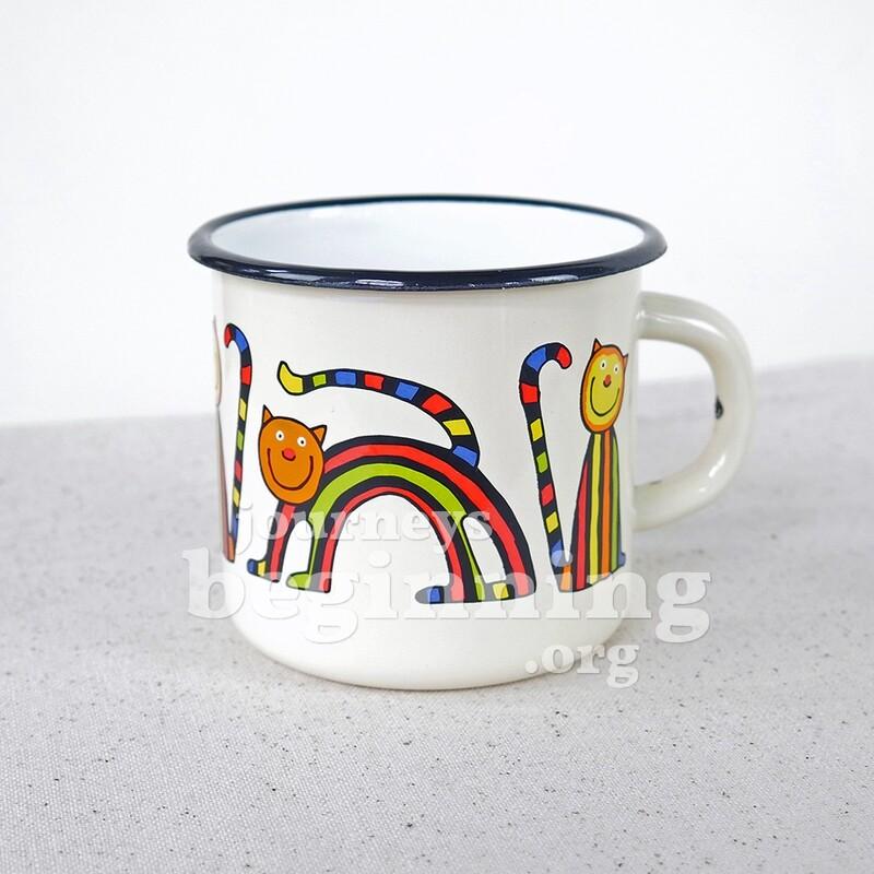 Striped Cat Enamel Mug - White