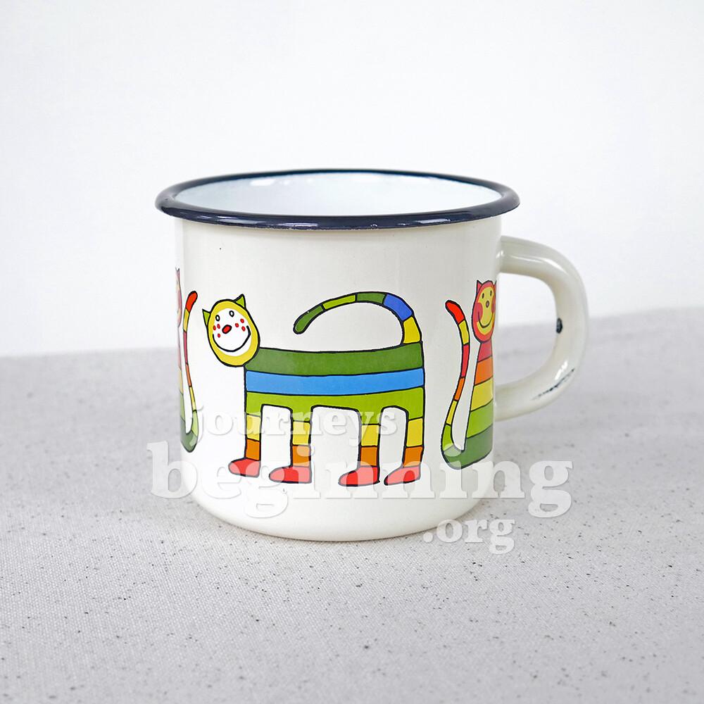 Rainbow Cat Enamel Mug - Ivory