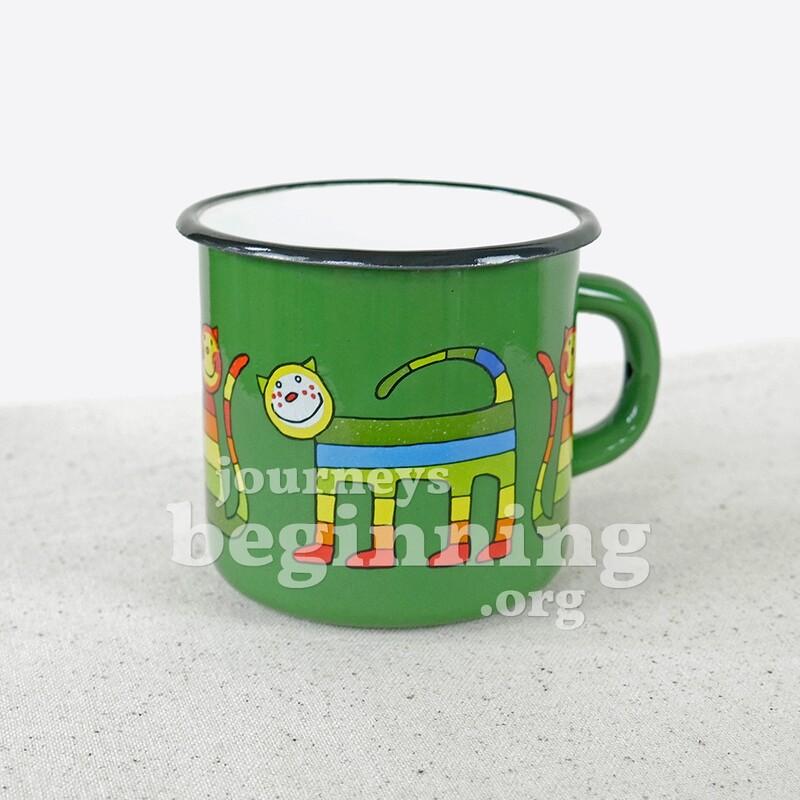 Rainbow Cat Enamel Mug - Shamrock Green