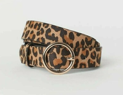 Leopard Print Bull-nose Buckle Belt