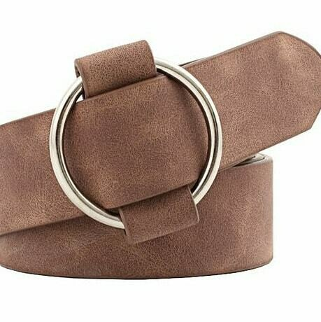 Tan Leather Bull-nose buckle belt