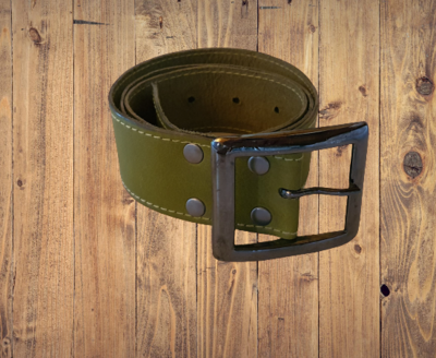 Olive green leather belt