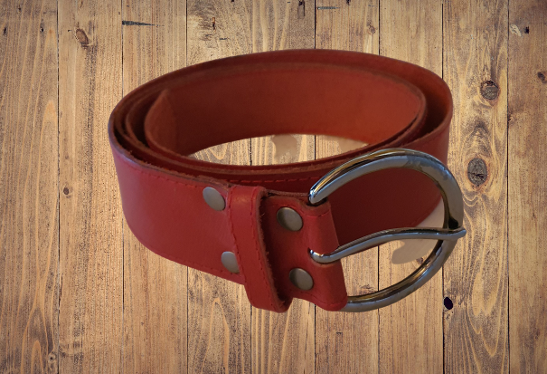 Ox blood red leather belt