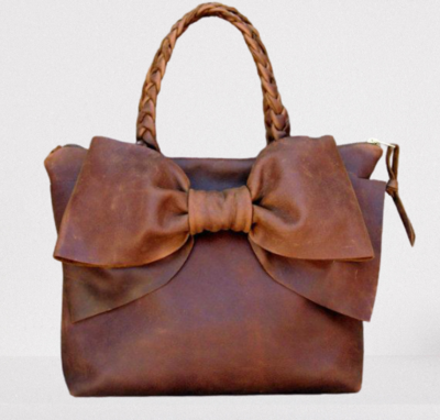 Bow detail leather bag