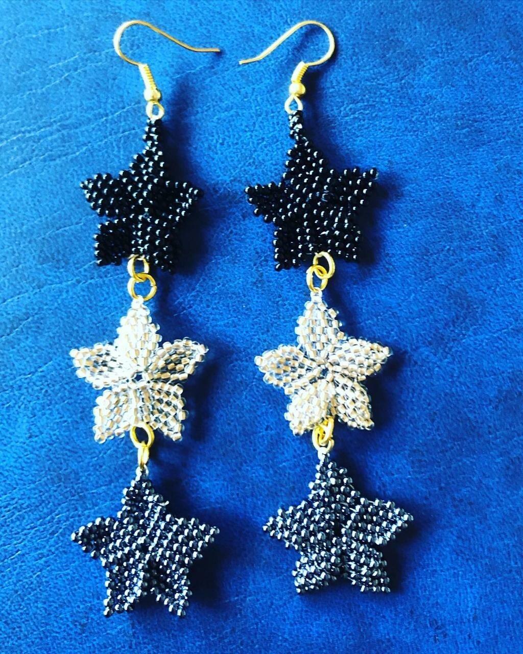 Philippa French Star flower beaded earrings