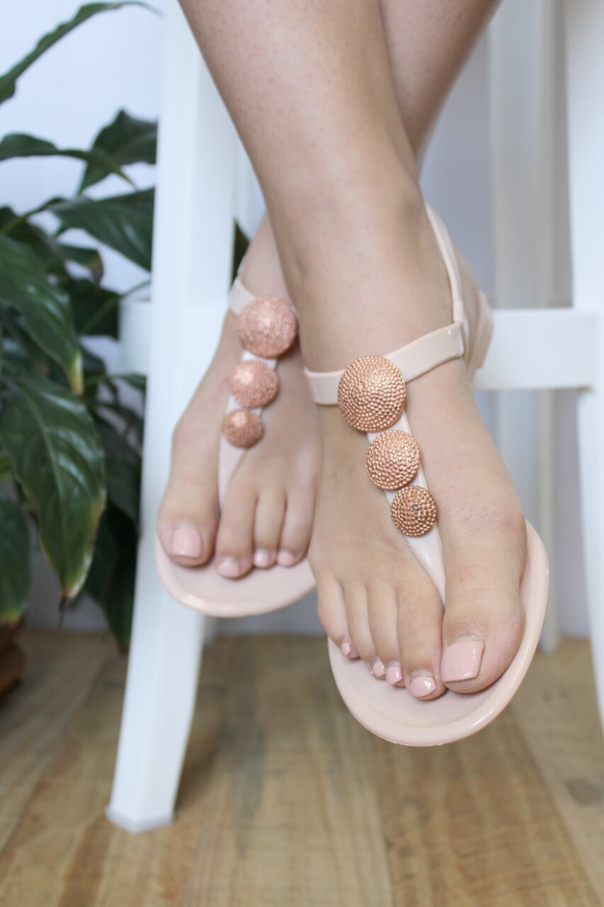 Rose gold robot sandal