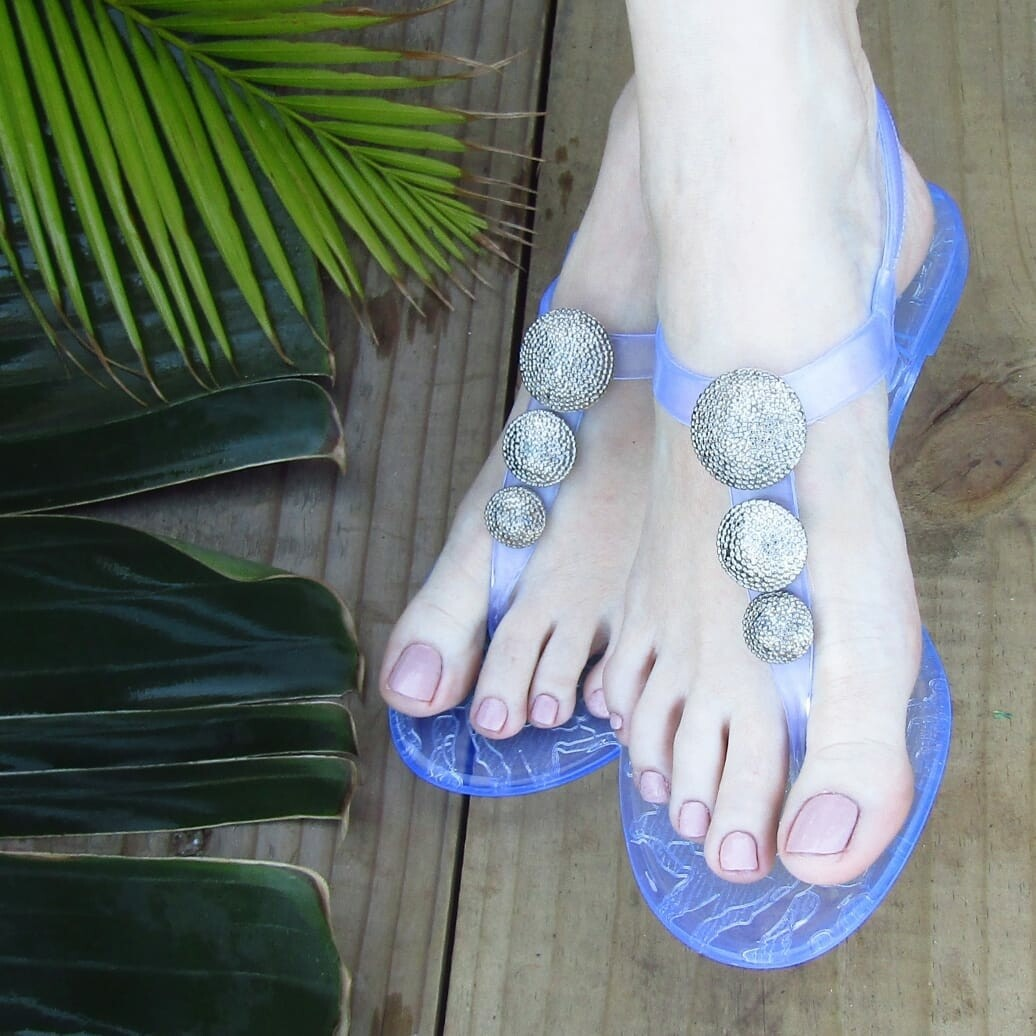 Clear and silver robot sandal