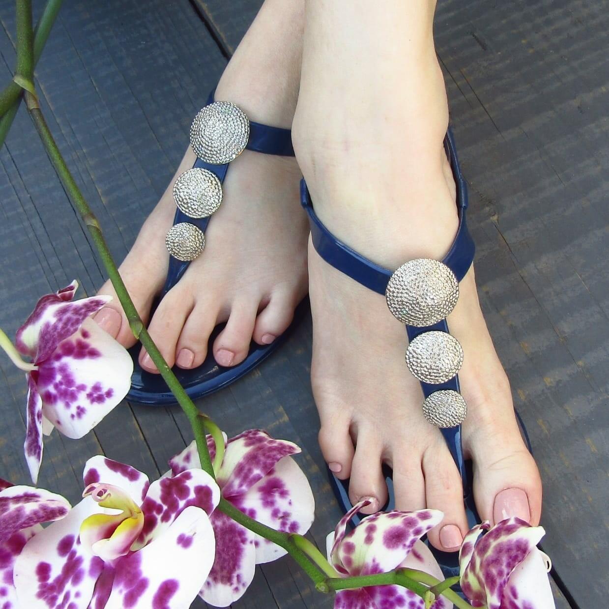 Navy jelly sandal