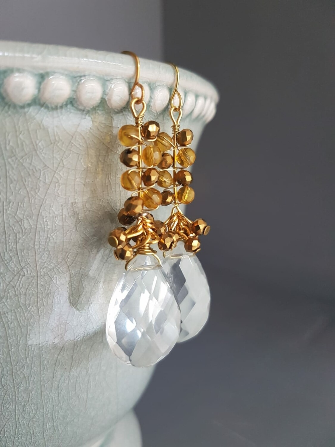 Cazz Creations Gold and Clear Chandelier Earrings