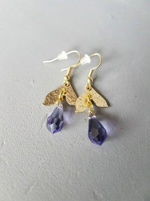 Cazz Creations Gold and Amethyst Drop Earrings