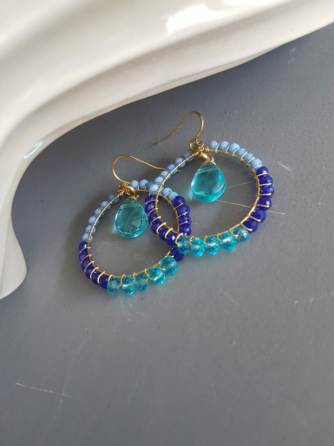 Cazz Creations Turquoise, Amethyst and Clear Earrings