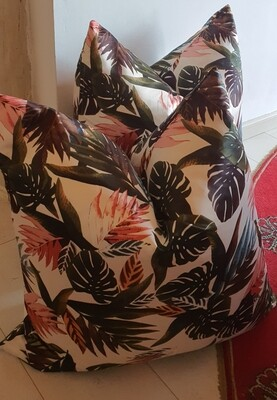 60x60 multi color jungle leaf scatter cushions