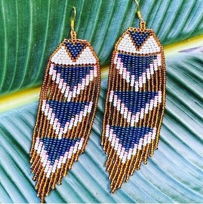Midnight in Paris hand beaded earrings