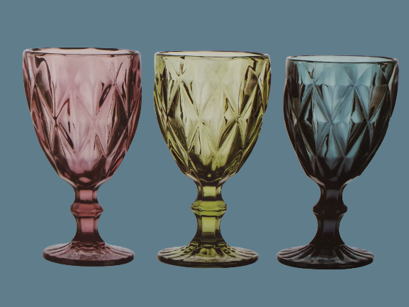 Boho wine glasses diamond