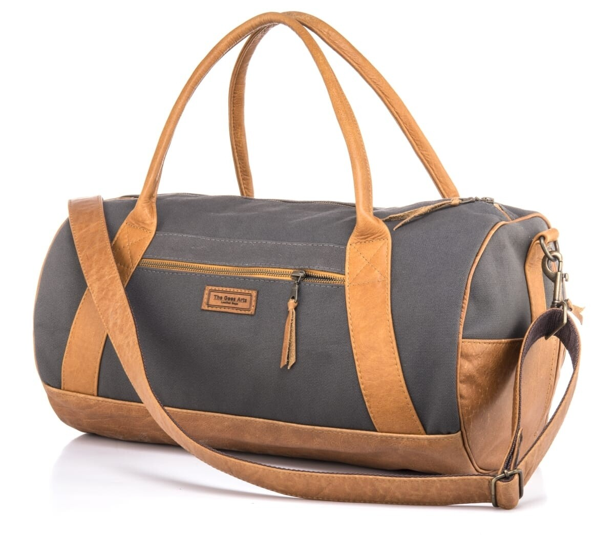 Leather Canvass barrel overnight bag