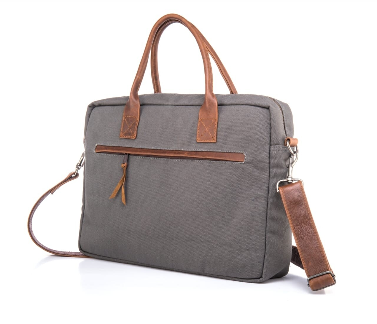 Canvass and leather laptop bag