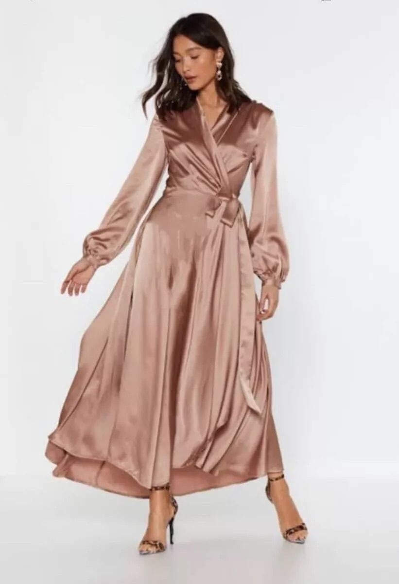 Sateen cross over dresses
