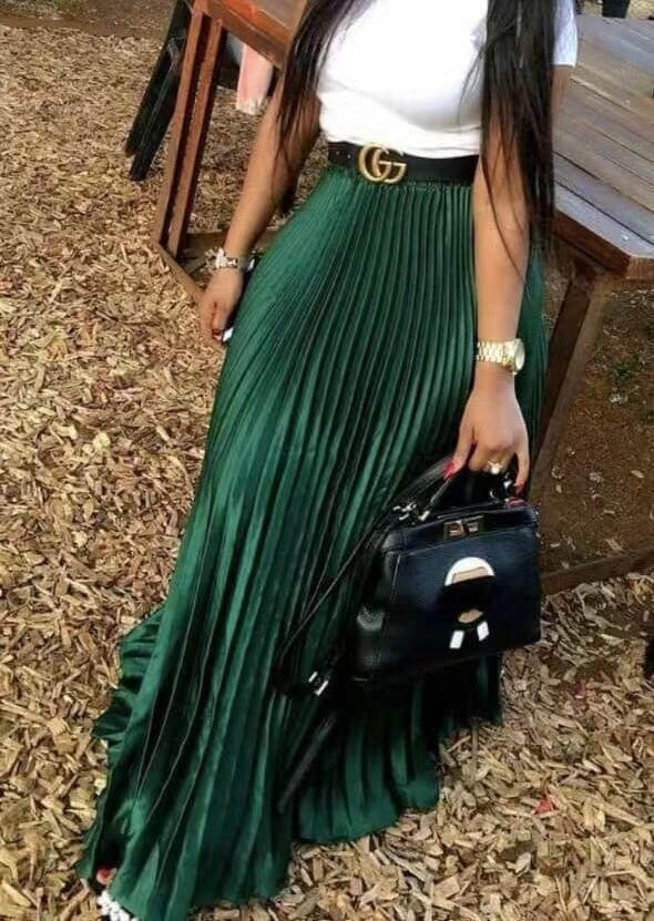 Sateen Pleated Skirts