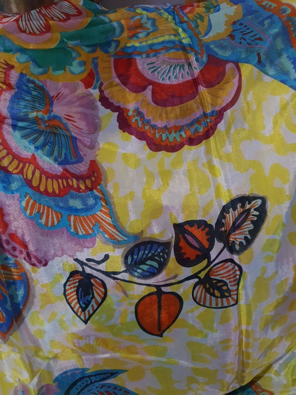 Floral Yellow Leopard Print Silk Scarf