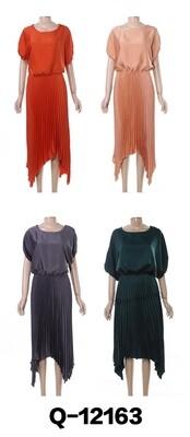 Pleated Sateen Dress