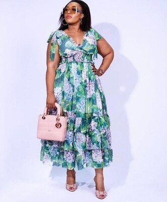 Spring Hydrangea Print Dress