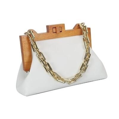 Wooden Frame Clutch handbag