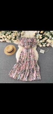 Long chiffon off shoulder summer dress