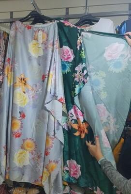 Summer satin floral kaftan
