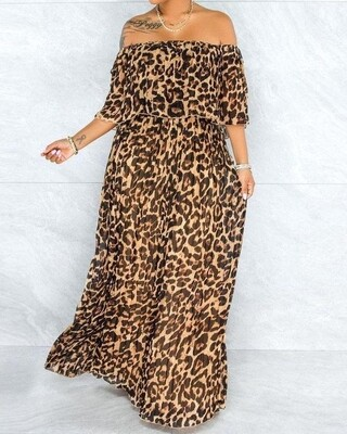 Off Shoulder Leopard print Gypsy dress