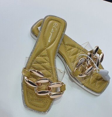 PU square toe slip on sandals with a dash of sparkles.