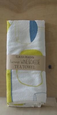 Claudia Pearson Tea Towel Wine And Cheese