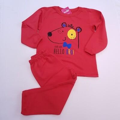 Pijama Infantil Liso Vermelho Tam 3 Unissex