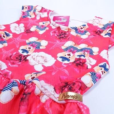 Vestido Infantil Estampado Vermelho Tam 8