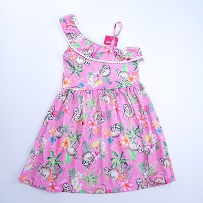 Vestido Infantil Estampado Rosa Tam 8