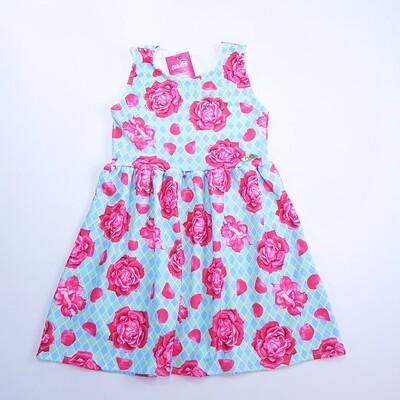 Vestido Infantil Estampado Azul Tam 8