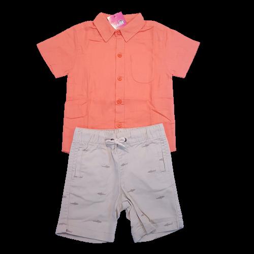 Conjunto Camisa botão com bermuda Masculino
